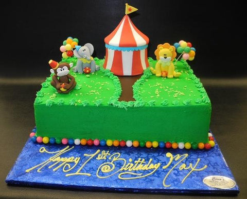 Circus Icing Cake with Edible Fondant Animals