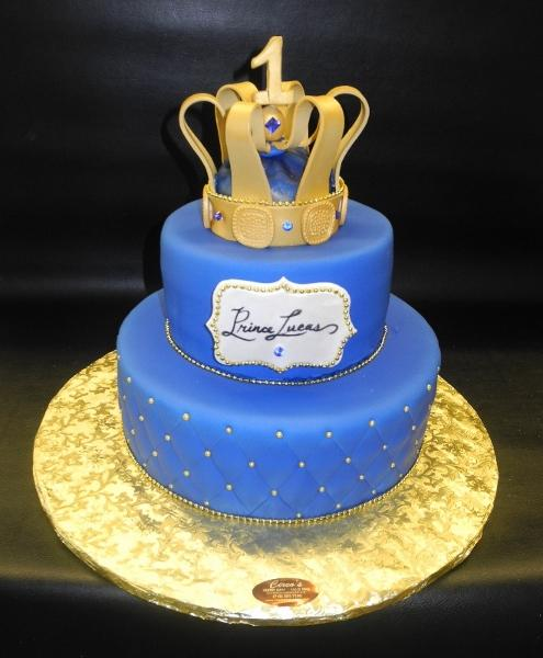 Prince 1st Birthday Cake with Edible Crown