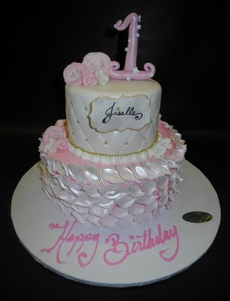 Rose Petal and Diamond Imprint Fondant Cake with Fondant Number and Roses