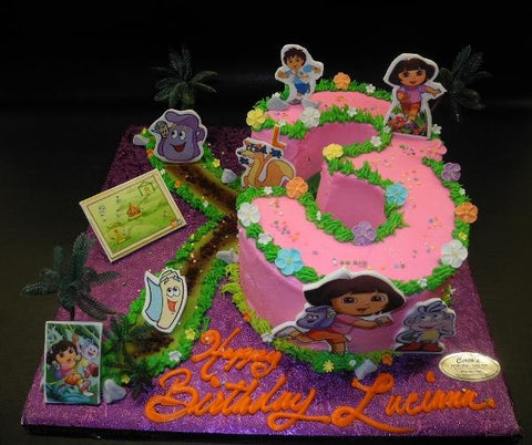 Dora Whip Cream Number Cake with 2D Fondant Decoration