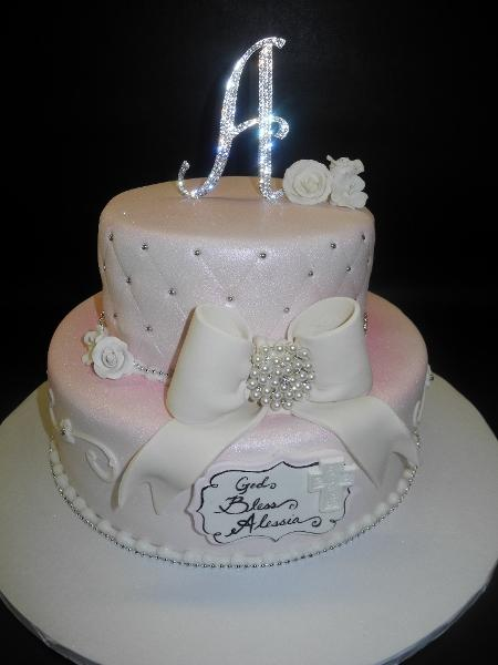 Diamond Christening Cake with Diamond Cake Toppper