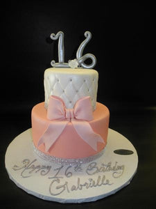 Sweet 16 Fondant Cake Pink and White