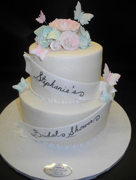 Butterfly and Flowers Bridal Shower Cake