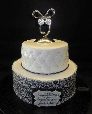 Damask Black and White Fondant Cake
