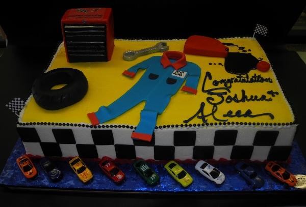 Mechanic Icing Cake with Cars and Fondant Decoration