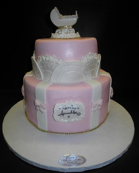 Stroller Pink and White Fondant Cake