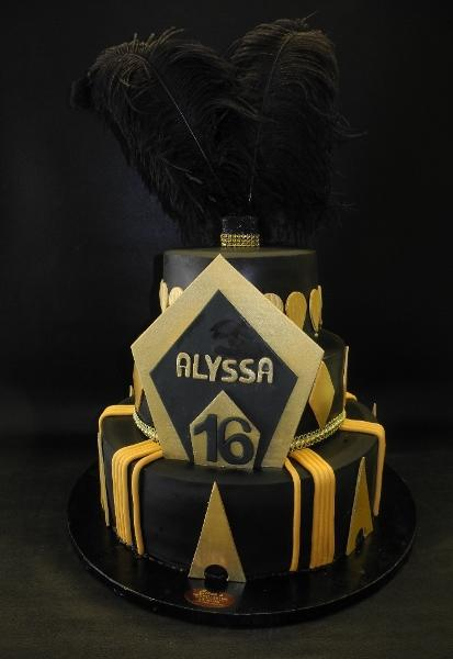 Feathers Gold and Black Sweet 16 Cake
