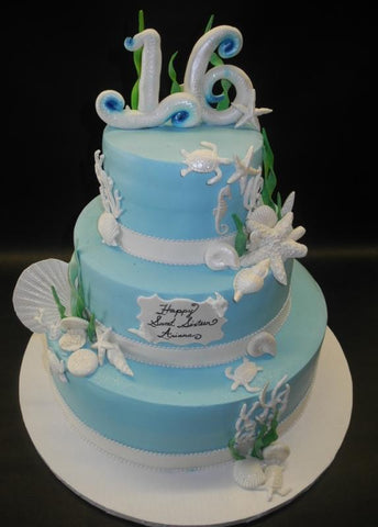 Sea Theme Sweet 16 Fondant Cake