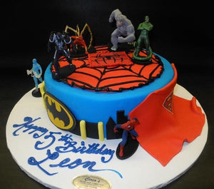 Spider Man and Super Hero Fondant Cake