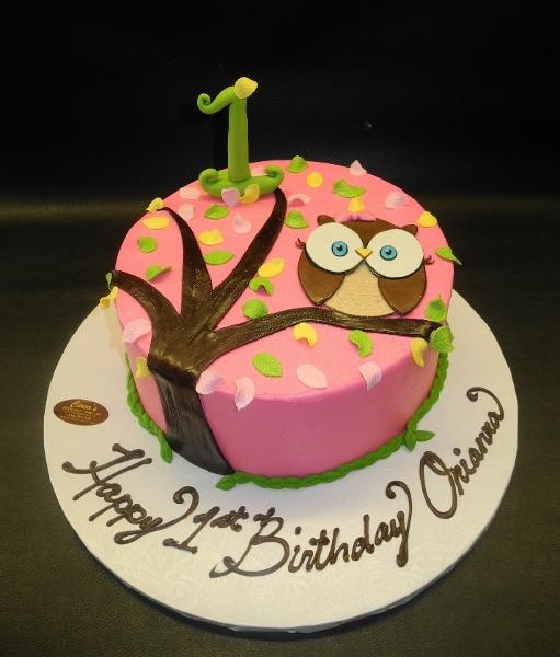 Owl Icing Cake with Fondant number and Owl
