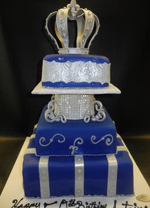 Crown Purple and Silver Fondant Cake