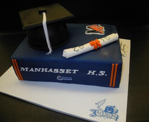 Graduation Book with edible fondant diploma and cap