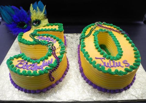 Mardi Gras Number Whip Cream 50th Birthday Cake