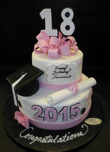 Admirable Graduation And 18Th Birthday Fondant Cake Cs0023 Circos Personalised Birthday Cards Veneteletsinfo