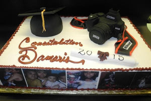 Canon Camera and Fondant 3D Graduation Icing Cake with Edible Images