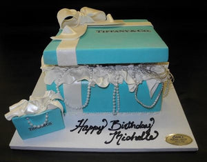 Tiffany Box Fondant Cake with gift bag and jewels