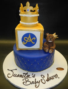 Teddy Bear and Crown Baby Shower Royal Cake
