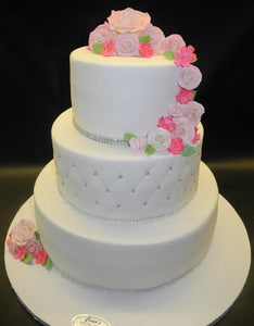Roses and Petals Fondant White Cake