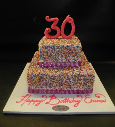 Sprinkle and Diamonds Pink Birthday Cake