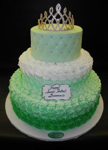 Rosebud Green and White Cake