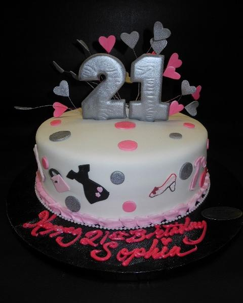 Silver and Pink 21st Fondant Cake with 2D Fondant Cut-outs