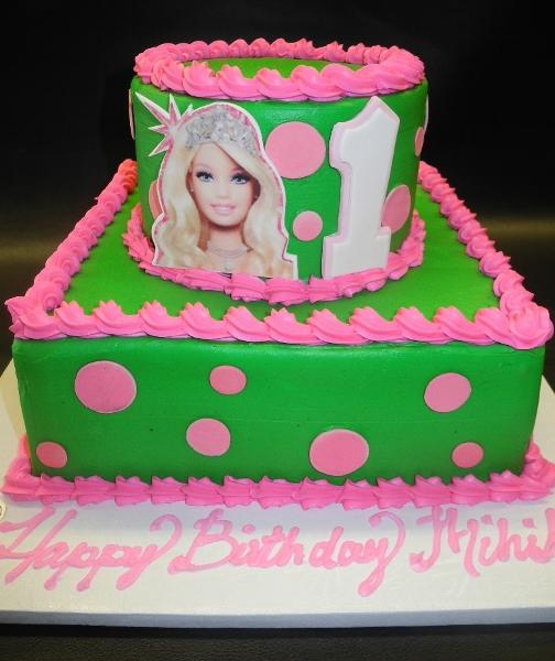 Barbie Icing Cake with Fondant Polka dots and picture