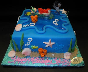 Little Mermaids Square Fondant Cake