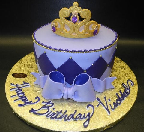 Purple Princess Cake with Fondant Edible Tiara