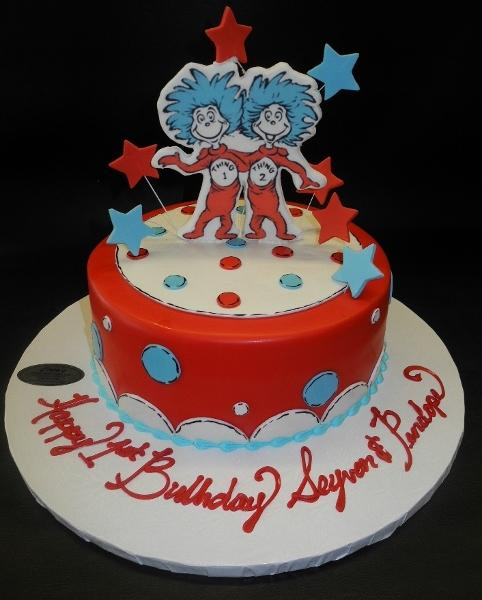 Thing one Thing two Fondant Cake with 2D Figurines