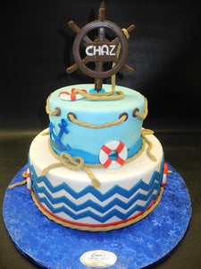 Sailor Chevron Fondant Custom Cake
