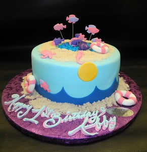 Beach theme 1st Birthday Cake