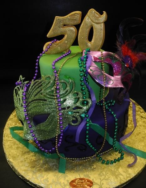 Mardi Gras 50th Birthday Cake