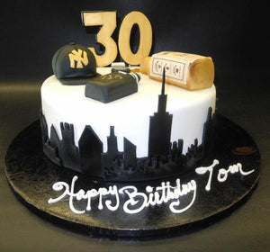New York skyline fondant cake