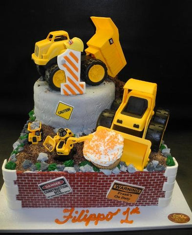 Truck Construction Custom Shape  Cake