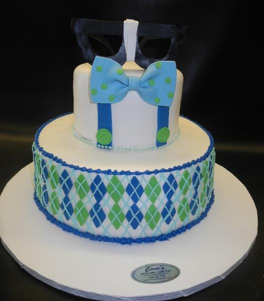 Bowtie Baby Shower Theme Cake