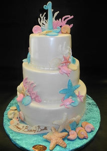 Sea Theme Fondant Cake with Fondant Sea Decoration