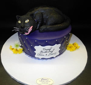 Cat on top of Fondant Cake