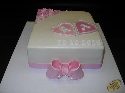 Engagement Pink and White Cake
