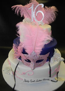 Feathers and Masks Sweet 16 Fondant Cake