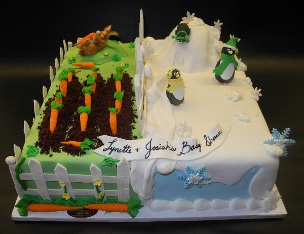 Rabbit and Penguin Fondant Custom Cake