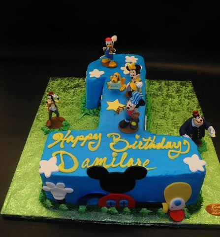 Mickey Mouse number icing cake with toys