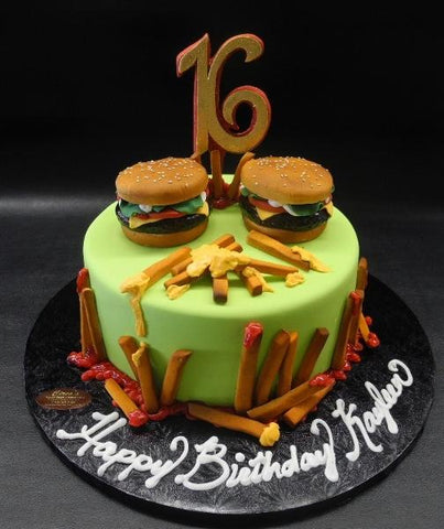 Burger and fries fondant custom cake