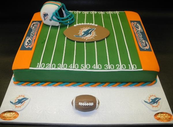 Football Field Square Fondant Cake