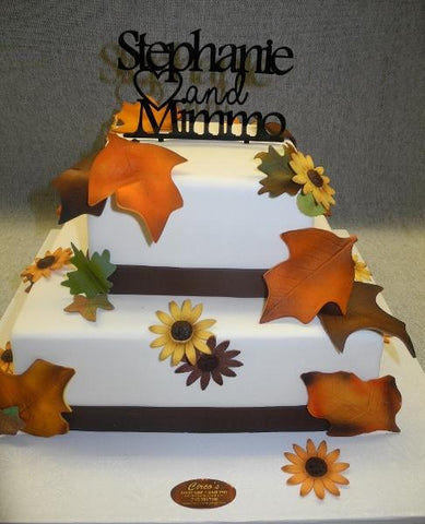 Fall Engagement Fondant Cake