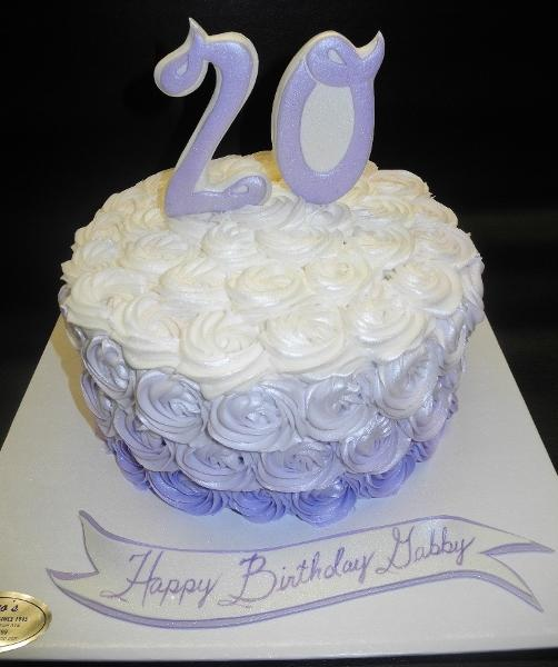 Rosebud Ombre Lavender and White Icing cake with fondant number