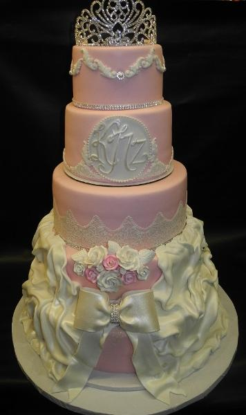 Sweet 15 Pink and White Cake