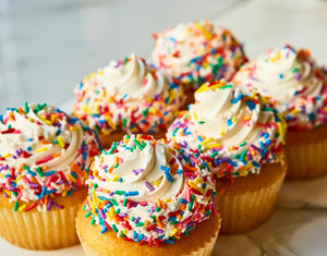 Vanilla cupcake with Rainbow Sprinkles