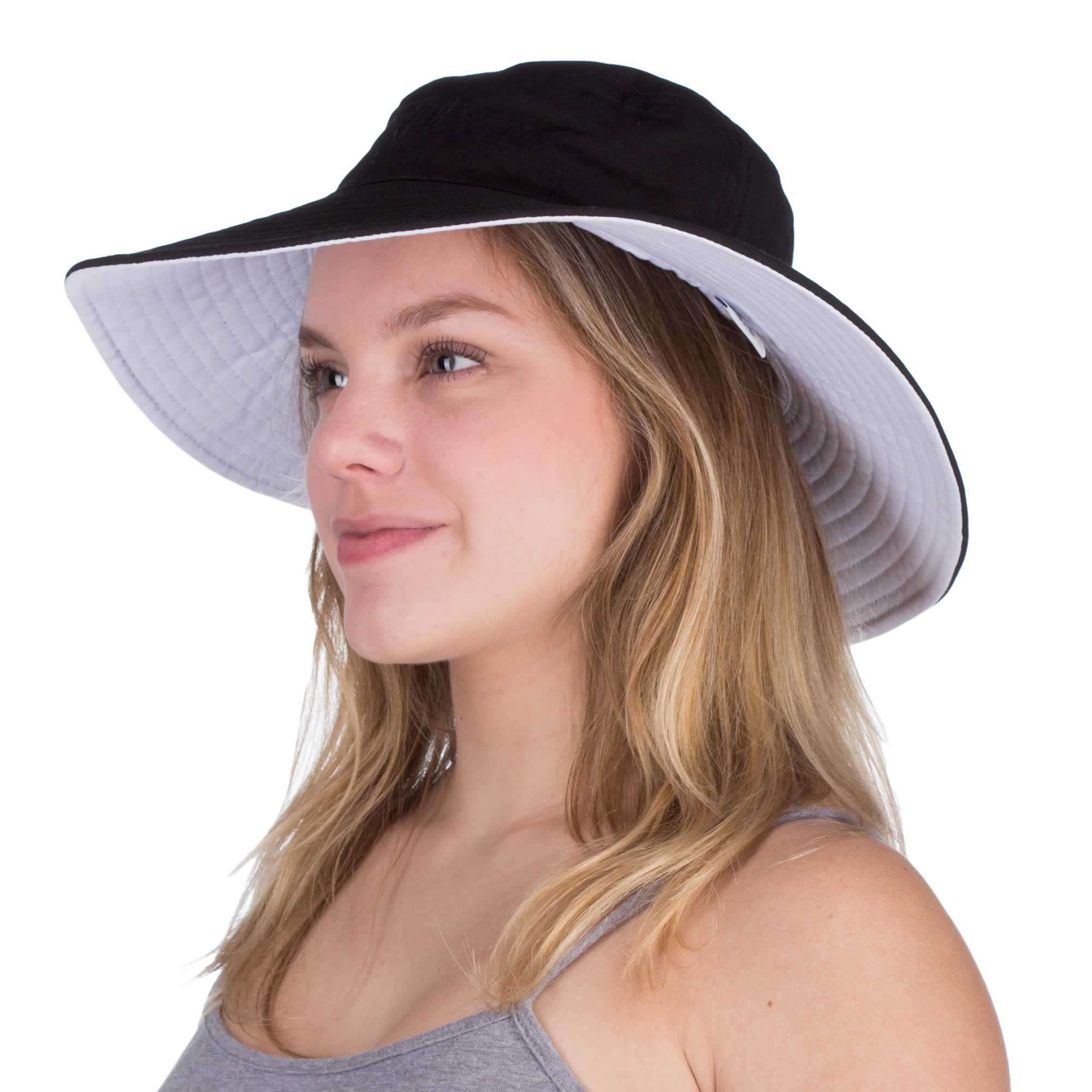 169752ad394e4 Womens Wide Brim Reversible Sun Hat - UV-Blocker