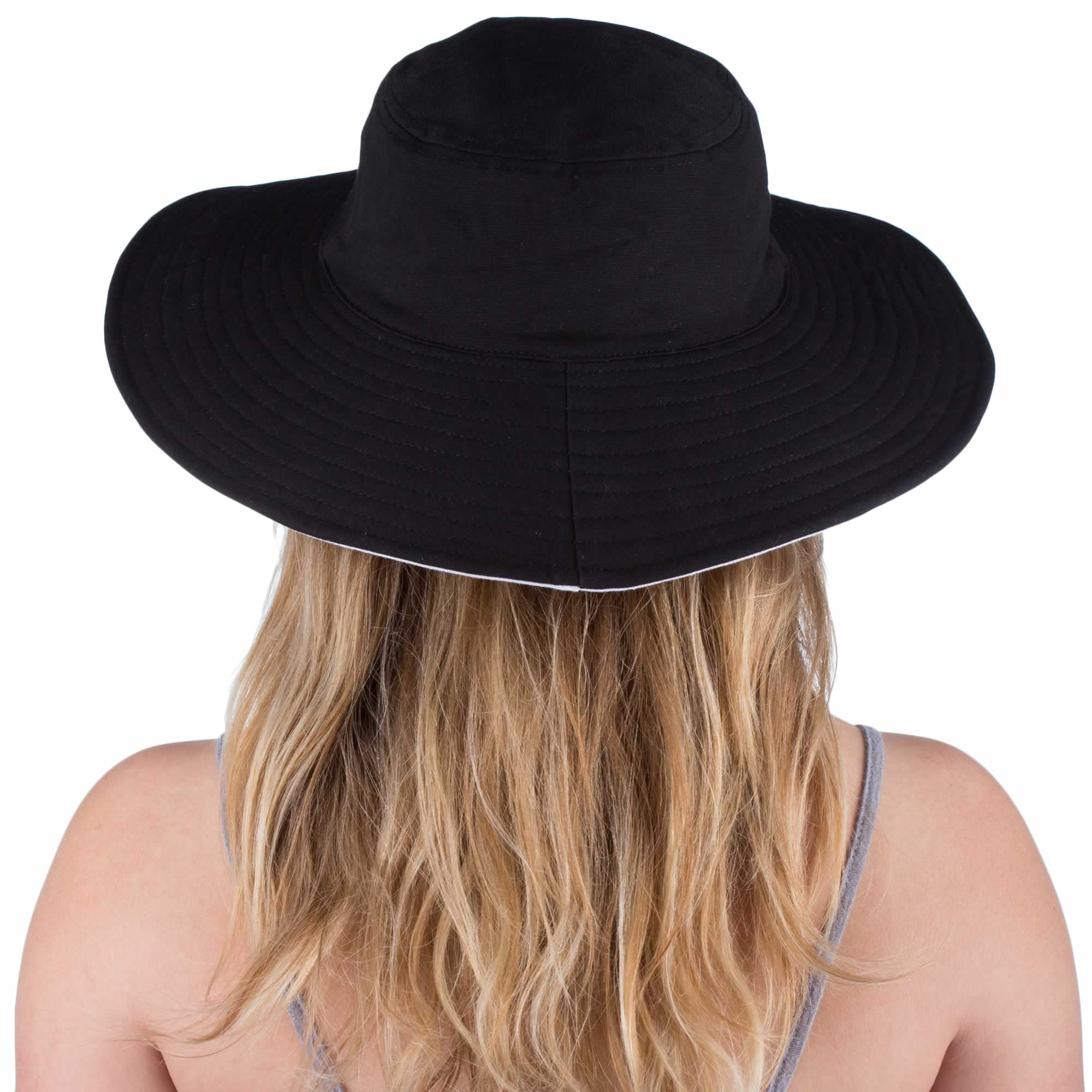 ed94a0cd40 Womens Wide Brim Reversible Sun Hat - UV-Blocker
