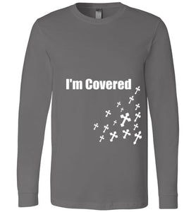 Canvas Long Sleeve I'm Covered Cross - MyChristy's